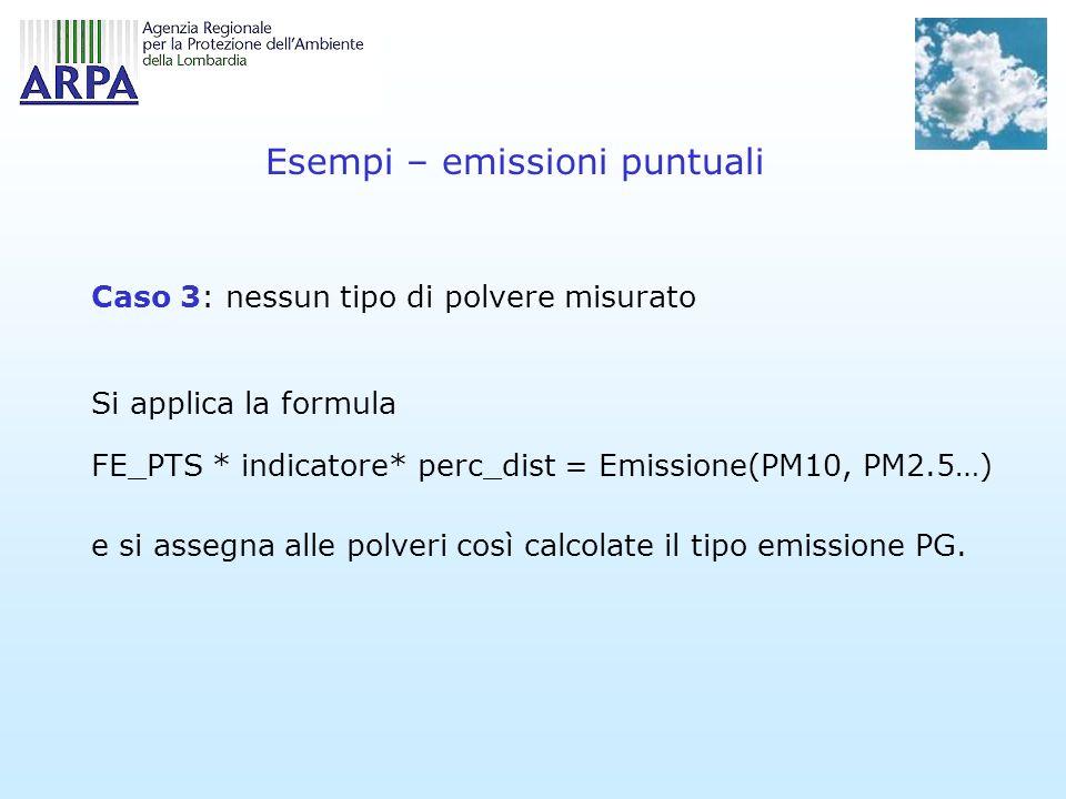 Esempi – emissioni puntuali Caso 3: nessun tipo di polvere misurato Si applica la formula FE_PTS * indicatore* perc_dist = Emissione(PM10, PM2.5…) e si assegna alle polveri così calcolate il tipo emissione PG.