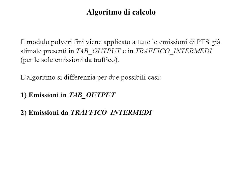 Algoritmo di calcolo Il modulo polveri fini viene applicato a tutte le emissioni di PTS già stimate presenti in TAB_OUTPUT e in TRAFFICO_INTERMEDI (per le sole emissioni da traffico).