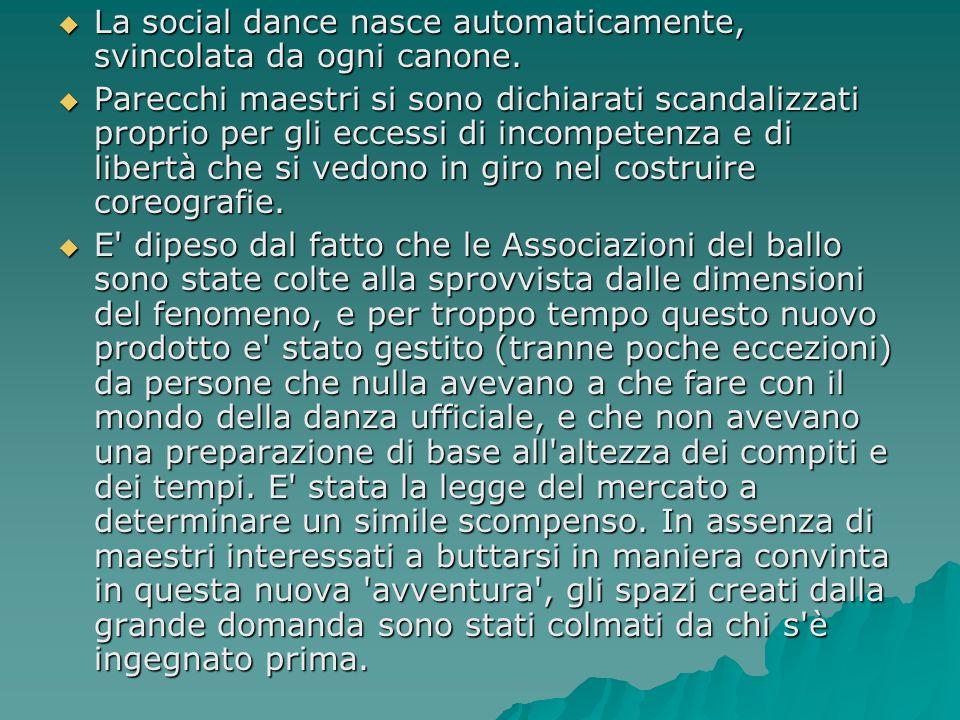 La social dance nasce automaticamente, svincolata da ogni canone. La social dance nasce automaticamente, svincolata da ogni canone. Parecchi maestri s
