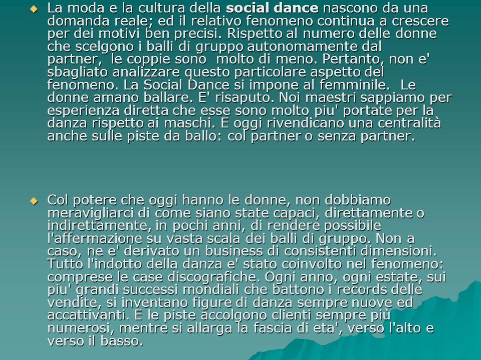 La moda e la cultura della social dance nascono da una domanda reale; ed il relativo fenomeno continua a crescere per dei motivi ben precisi. Rispetto
