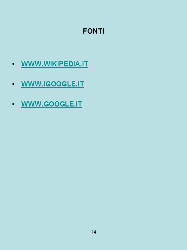 14 FONTI WWW.WIKIPEDIA.IT WWW.IGOOGLE.IT WWW.GOOGLE.IT