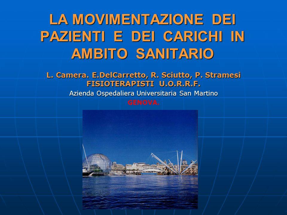 LA MOVIMENTAZIONE DEI PAZIENTI E DEI CARICHI IN AMBITO SANITARIO L. Camera. E.DelCarretto, R. Sciutto, P. Stramesi FISIOTERAPISTI U.O.R.R.F. Azienda O