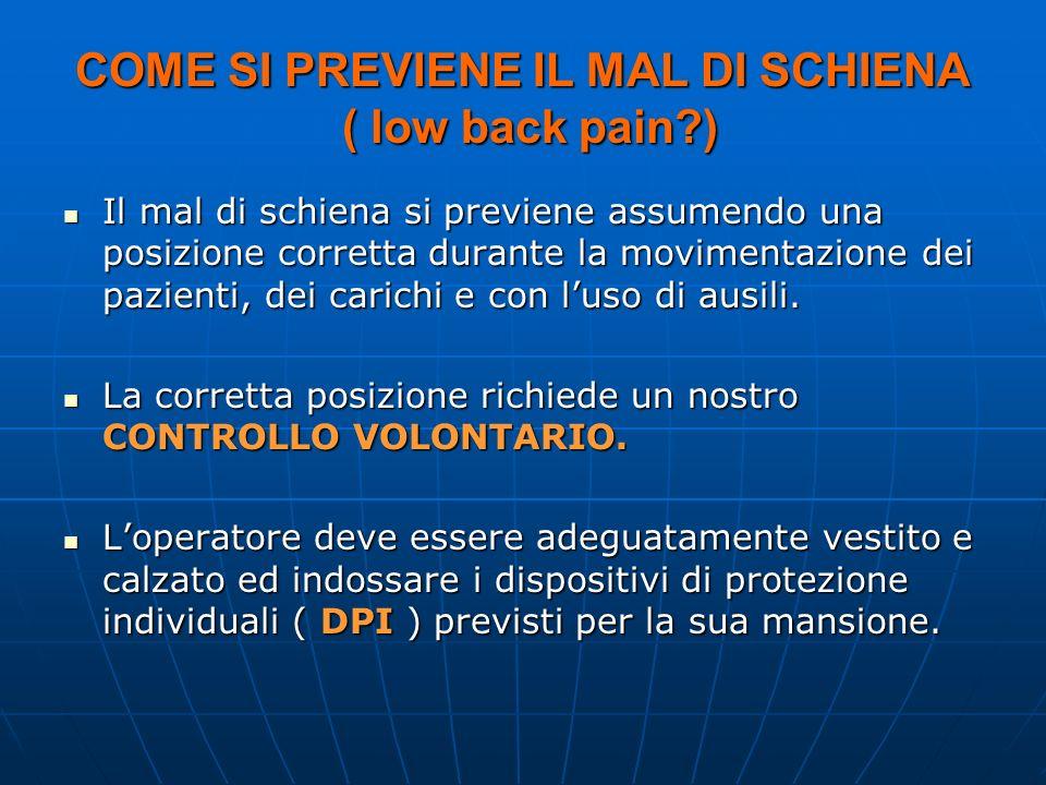 COME SI PREVIENE IL MAL DI SCHIENA ( low back pain?) Il mal di schiena si previene assumendo una posizione corretta durante la movimentazione dei pazienti, dei carichi e con luso di ausili.