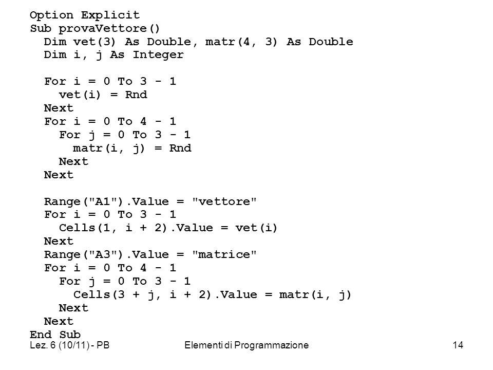 Lez. 6 (10/11) - PBElementi di Programmazione14 Option Explicit Sub provaVettore() Dim vet(3) As Double, matr(4, 3) As Double Dim i, j As Integer For