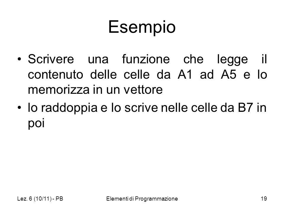 Lez. 6 (10/11) - PBElementi di Programmazione19 Esempio Scrivere una funzione che legge il contenuto delle celle da A1 ad A5 e lo memorizza in un vett