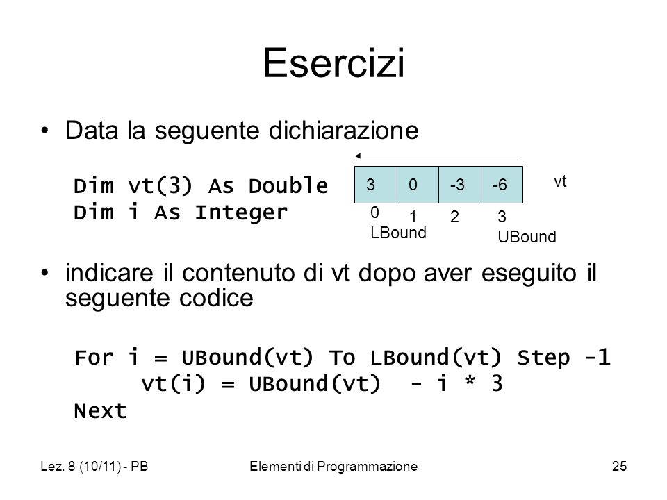 Lez. 8 (10/11) - PBElementi di Programmazione25 Esercizi Data la seguente dichiarazione Dim vt(3) As Double Dim i As Integer indicare il contenuto di
