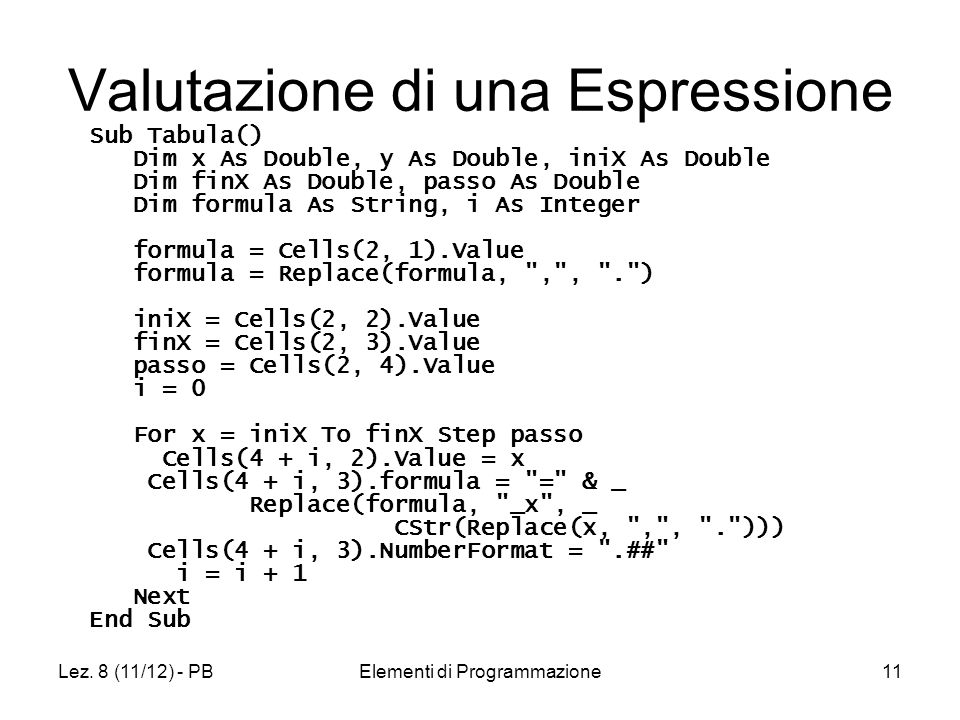 Lez. 8 (11/12) - PBElementi di Programmazione11 Valutazione di una Espressione Sub Tabula() Dim x As Double, y As Double, iniX As Double Dim finX As D