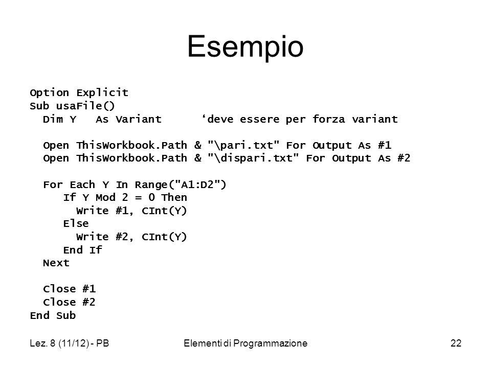 Lez. 8 (11/12) - PBElementi di Programmazione22 Esempio Option Explicit Sub usaFile() Dim Y As Variant deve essere per forza variant Open ThisWorkbook