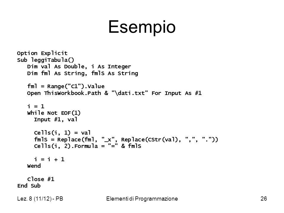 Lez. 8 (11/12) - PBElementi di Programmazione26 Esempio Option Explicit Sub leggiTabula() Dim val As Double, i As Integer Dim fml As String, fmlS As S