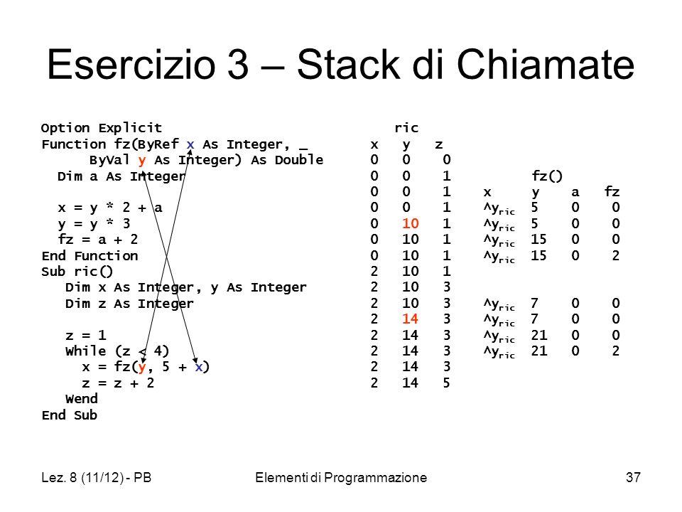 Lez. 8 (11/12) - PBElementi di Programmazione37 Esercizio 3 – Stack di Chiamate Option Explicit Function fz(ByRef x As Integer, _ ByVal y As Integer)