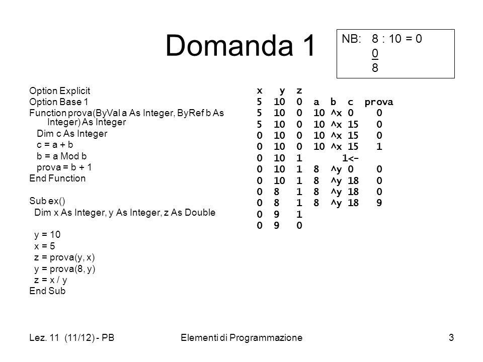 Lez. 11 (11/12) - PBElementi di Programmazione3 Domanda 1 Option Explicit Option Base 1 Function prova(ByVal a As Integer, ByRef b As Integer) As Inte