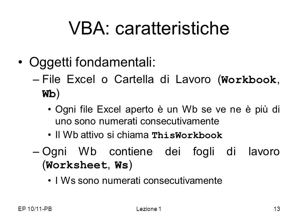EP 10/11-PBLezione 113 VBA: caratteristiche Oggetti fondamentali: Wb –File Excel o Cartella di Lavoro ( Workbook, Wb ) Ogni file Excel aperto è un Wb