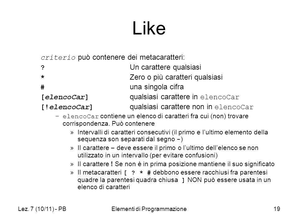 Lez. 7 (10/11) - PBElementi di Programmazione19 Like criterio può contenere dei metacaratteri: .