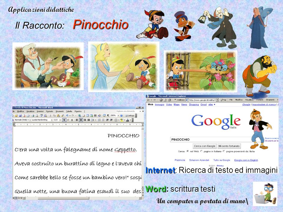 Il Racconto: Pinocchio Applicazioni didattiche Internet: Ricerca di testo ed immagini Word: scrittura testi Un computer a portata di mano\