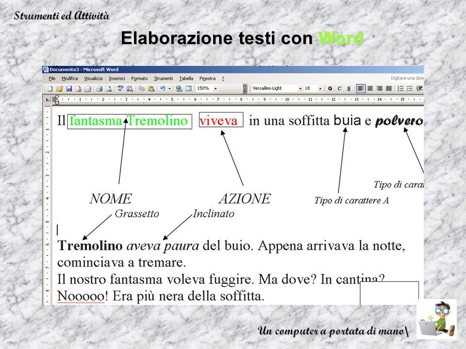 Elaborazione testi con Word Strumenti ed Attività Un computer a portata di mano\