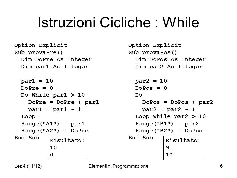 Lez 4 (11/12)Elementi di Programmazione6 Istruzioni Cicliche : While Option Explicit Sub provaPre() Dim DoPre As Integer Dim par1 As Integer par1 = 10