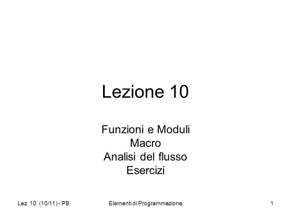Lez. 10 (10/11) - PBElementi di Programmazione1 Lezione 10 Funzioni e Moduli Macro Analisi del flusso Esercizi