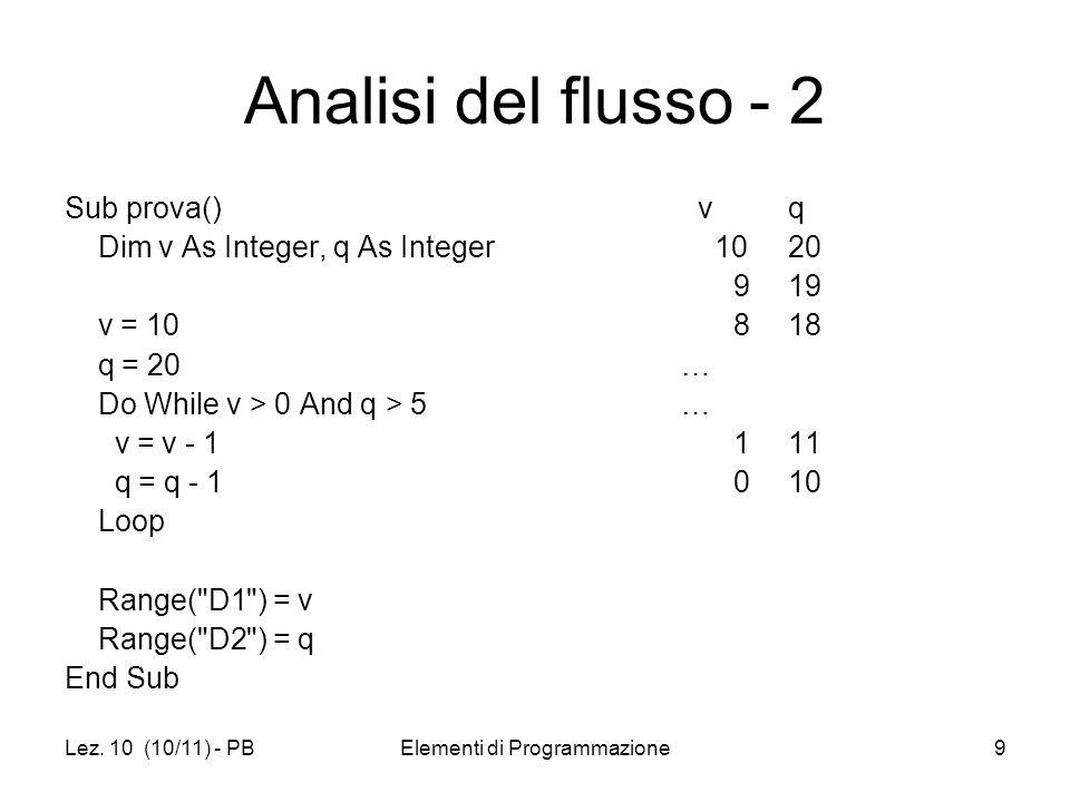 Lez. 10 (10/11) - PBElementi di Programmazione9 Analisi del flusso - 2 Sub prova() Dim v As Integer, q As Integer v = 10 q = 20 Do While v > 0 And q >
