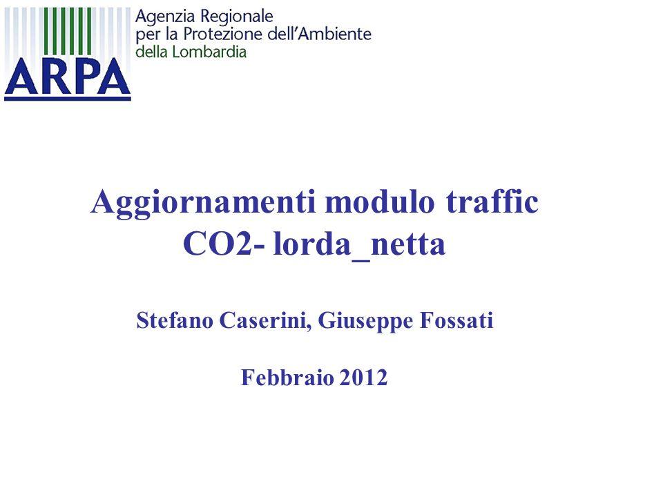 Aggiornamenti modulo traffic CO2- lorda_netta Stefano Caserini, Giuseppe Fossati Febbraio 2012