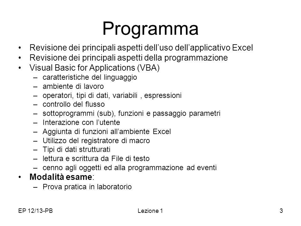 EP 12/13-PBLezione 13 Programma Revisione dei principali aspetti delluso dellapplicativo Excel Revisione dei principali aspetti della programmazione V