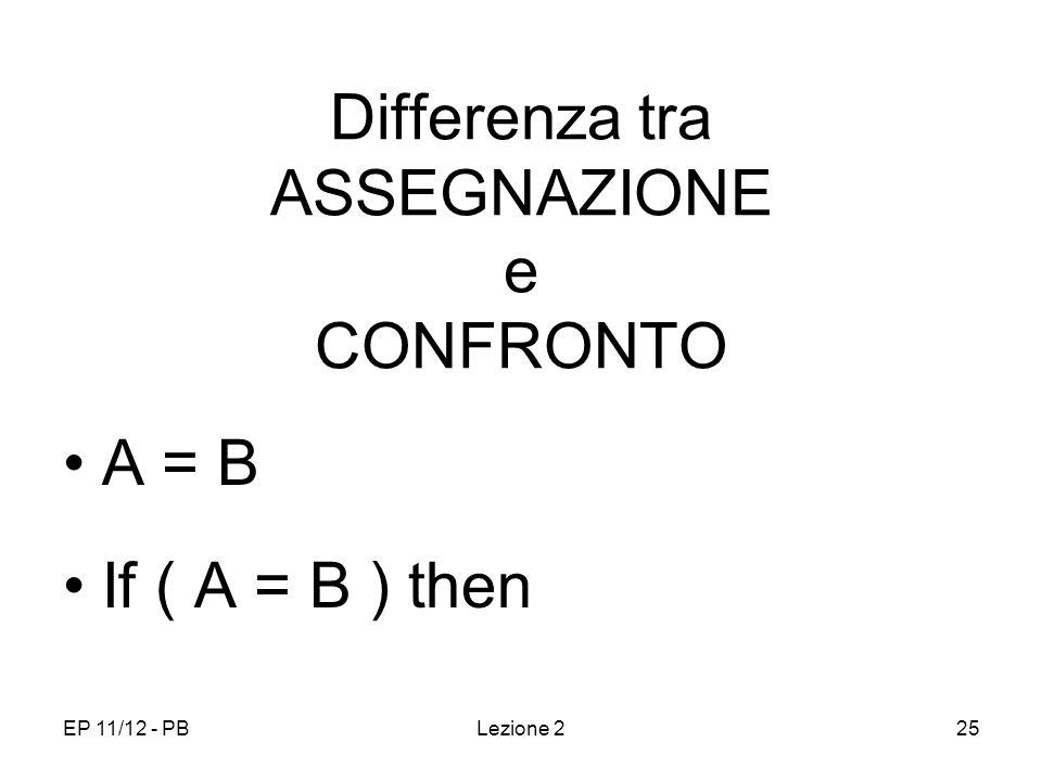 EP 11/12 - PBLezione 225 Differenza tra ASSEGNAZIONE e CONFRONTO A = B If ( A = B ) then