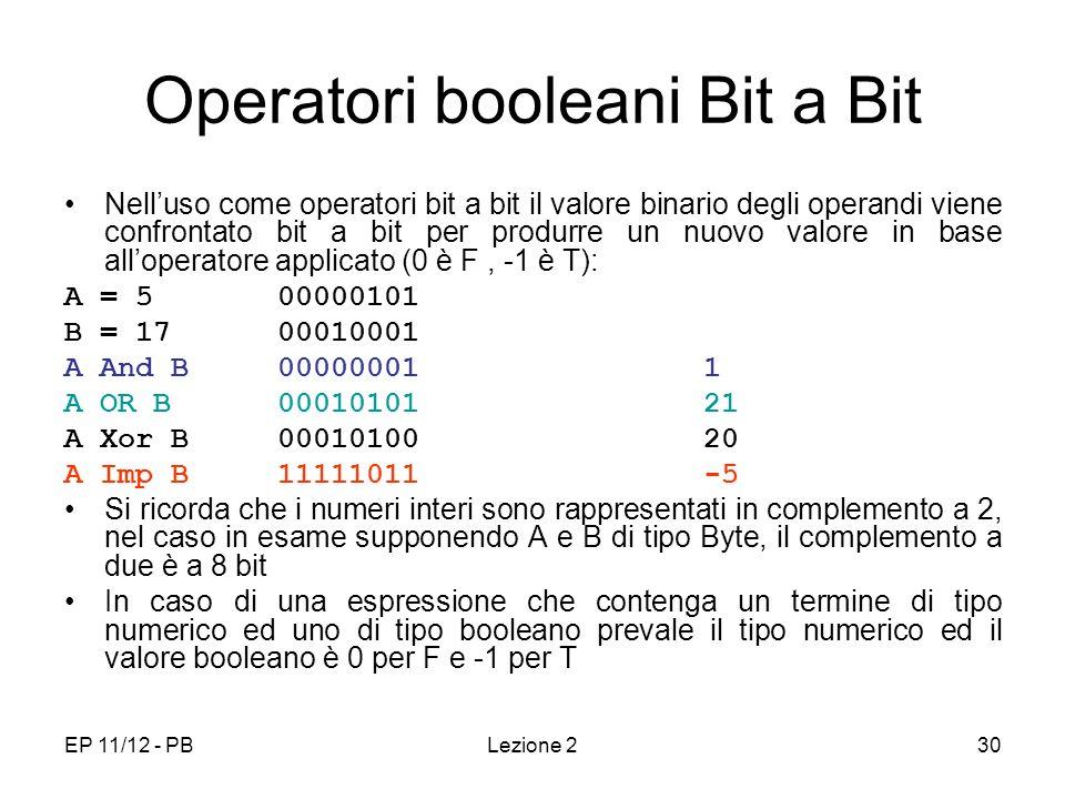 EP 11/12 - PBLezione 230 Operatori booleani Bit a Bit Nelluso come operatori bit a bit il valore binario degli operandi viene confrontato bit a bit per produrre un nuovo valore in base alloperatore applicato (0 è F, -1 è T): A = 500000101 B = 1700010001 A And B 00000001 1 A OR B 00010101 21 A Xor B00010100 20 A Imp B 11111011 -5 Si ricorda che i numeri interi sono rappresentati in complemento a 2, nel caso in esame supponendo A e B di tipo Byte, il complemento a due è a 8 bit In caso di una espressione che contenga un termine di tipo numerico ed uno di tipo booleano prevale il tipo numerico ed il valore booleano è 0 per F e -1 per T