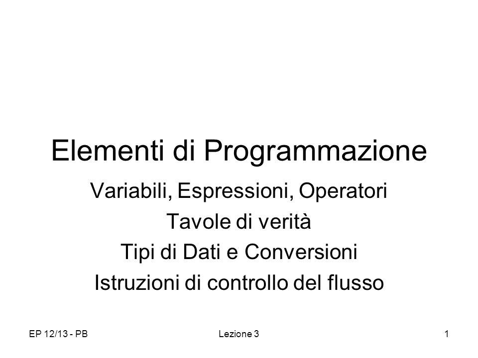 EP 12/13 - PBLezione 31 Elementi di Programmazione Variabili, Espressioni, Operatori Tavole di verità Tipi di Dati e Conversioni Istruzioni di control