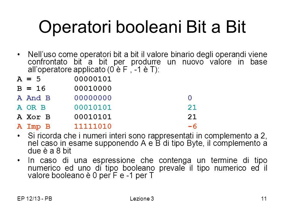 EP 12/13 - PB11 Operatori booleani Bit a Bit Nelluso come operatori bit a bit il valore binario degli operandi viene confrontato bit a bit per produrre un nuovo valore in base alloperatore applicato (0 è F, -1 è T): A = 500000101 B = 1600010000 A And B 00000000 0 A OR B 00010101 21 A Xor B00010101 21 A Imp B 11111010-6 Si ricorda che i numeri interi sono rappresentati in complemento a 2, nel caso in esame supponendo A e B di tipo Byte, il complemento a due è a 8 bit In caso di una espressione che contenga un termine di tipo numerico ed uno di tipo booleano prevale il tipo numerico ed il valore booleano è 0 per F e -1 per T Lezione 3