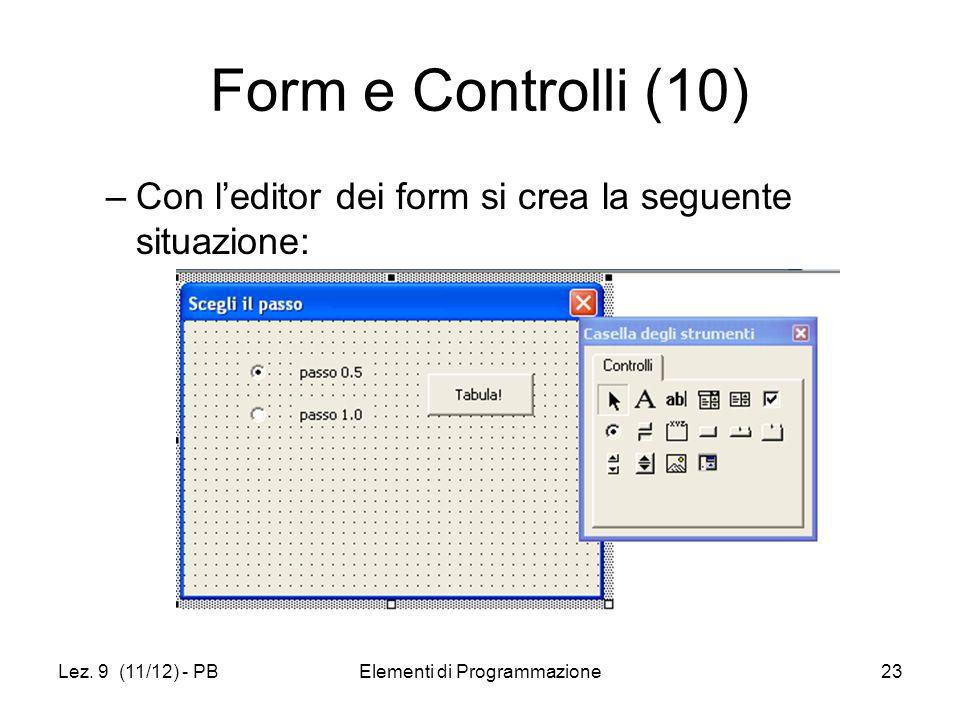 Lez. 9 (11/12) - PBElementi di Programmazione23 Form e Controlli (10) –Con leditor dei form si crea la seguente situazione: