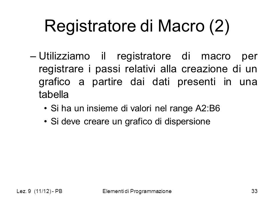 Lez. 9 (11/12) - PBElementi di Programmazione33 Registratore di Macro (2) –Utilizziamo il registratore di macro per registrare i passi relativi alla c