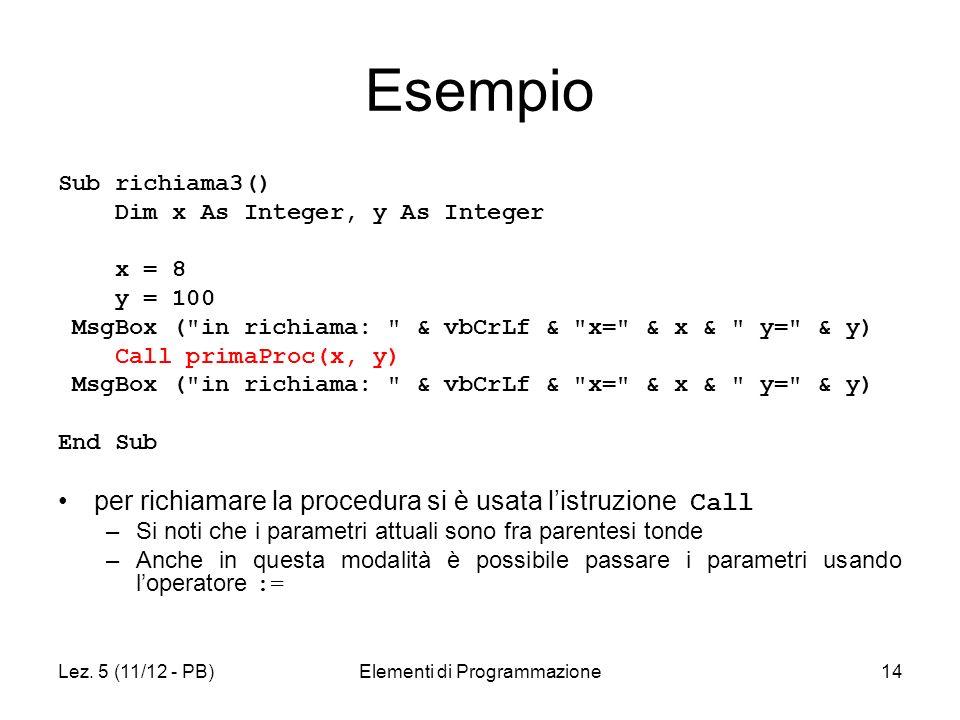 Lez. 5 (11/12 - PB)Elementi di Programmazione14 Esempio Sub richiama3() Dim x As Integer, y As Integer x = 8 y = 100 MsgBox (