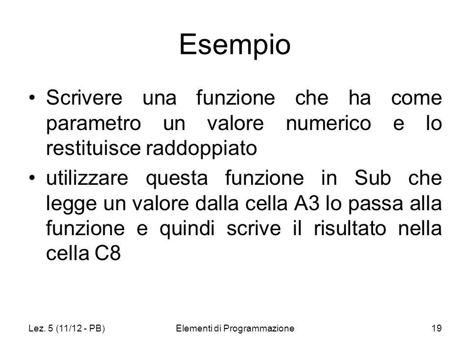 Lez. 5 (11/12 - PB)Elementi di Programmazione19 Esempio Scrivere una funzione che ha come parametro un valore numerico e lo restituisce raddoppiato ut