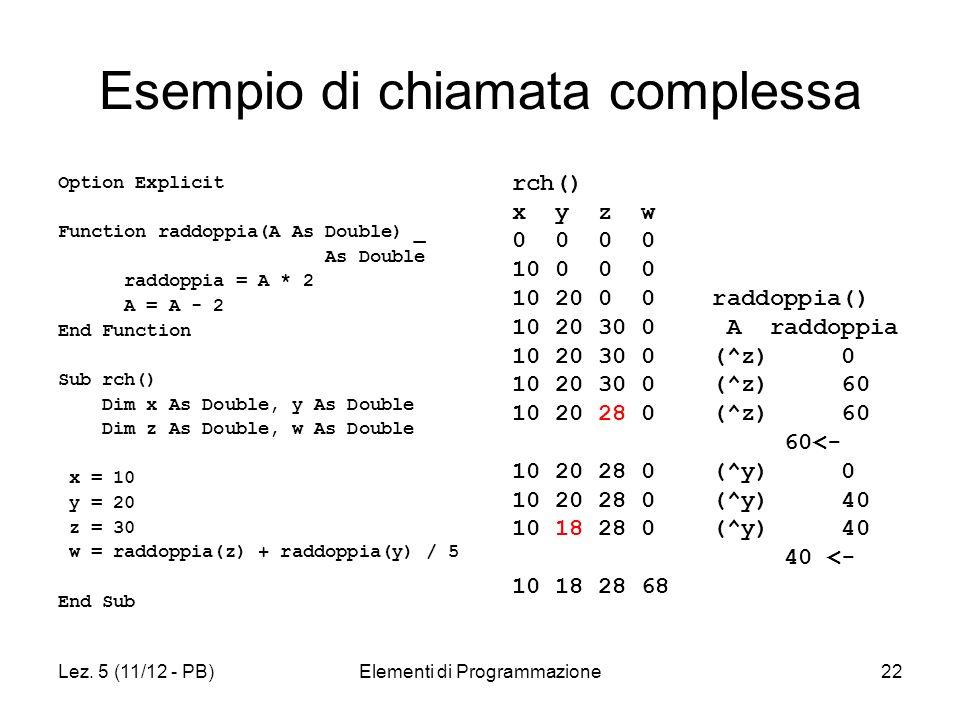 Lez. 5 (11/12 - PB)Elementi di Programmazione22 Esempio di chiamata complessa Option Explicit Function raddoppia(A As Double) _ As Double raddoppia =
