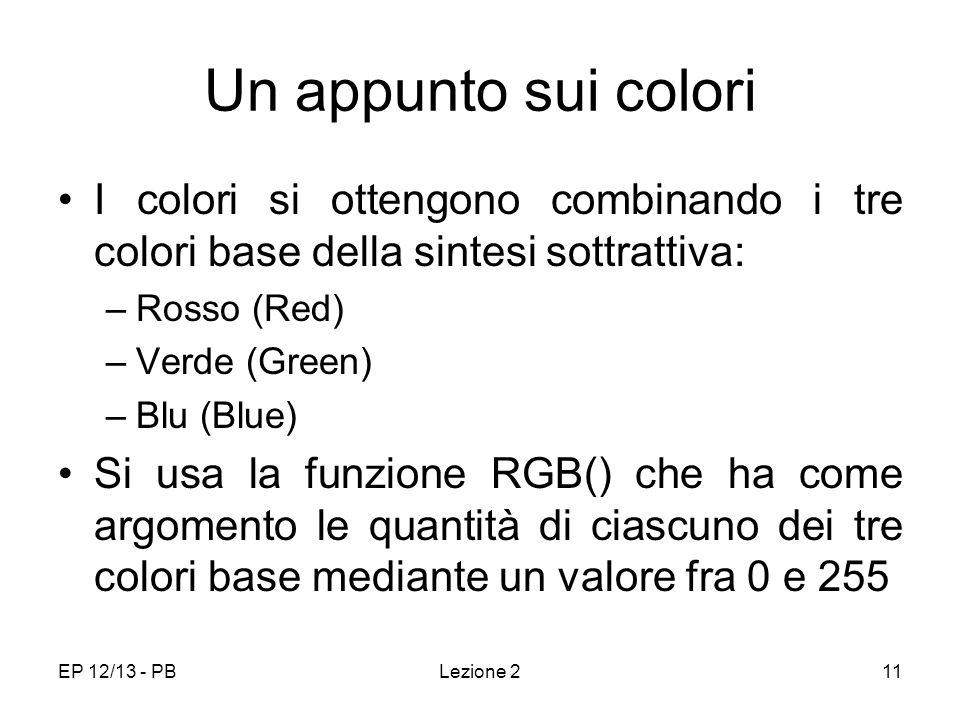 EP 12/13 - PBLezione 211 Un appunto sui colori I colori si ottengono combinando i tre colori base della sintesi sottrattiva: –Rosso (Red) –Verde (Green) –Blu (Blue) Si usa la funzione RGB() che ha come argomento le quantità di ciascuno dei tre colori base mediante un valore fra 0 e 255