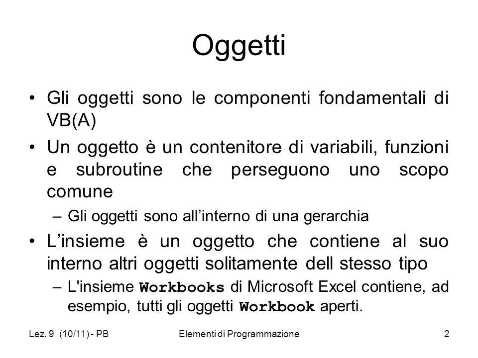 Lez. 9 (10/11) - PBElementi di Programmazione2 Oggetti Gli oggetti sono le componenti fondamentali di VB(A) Un oggetto è un contenitore di variabili,