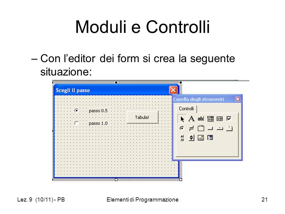 Lez. 9 (10/11) - PBElementi di Programmazione21 Moduli e Controlli –Con leditor dei form si crea la seguente situazione: