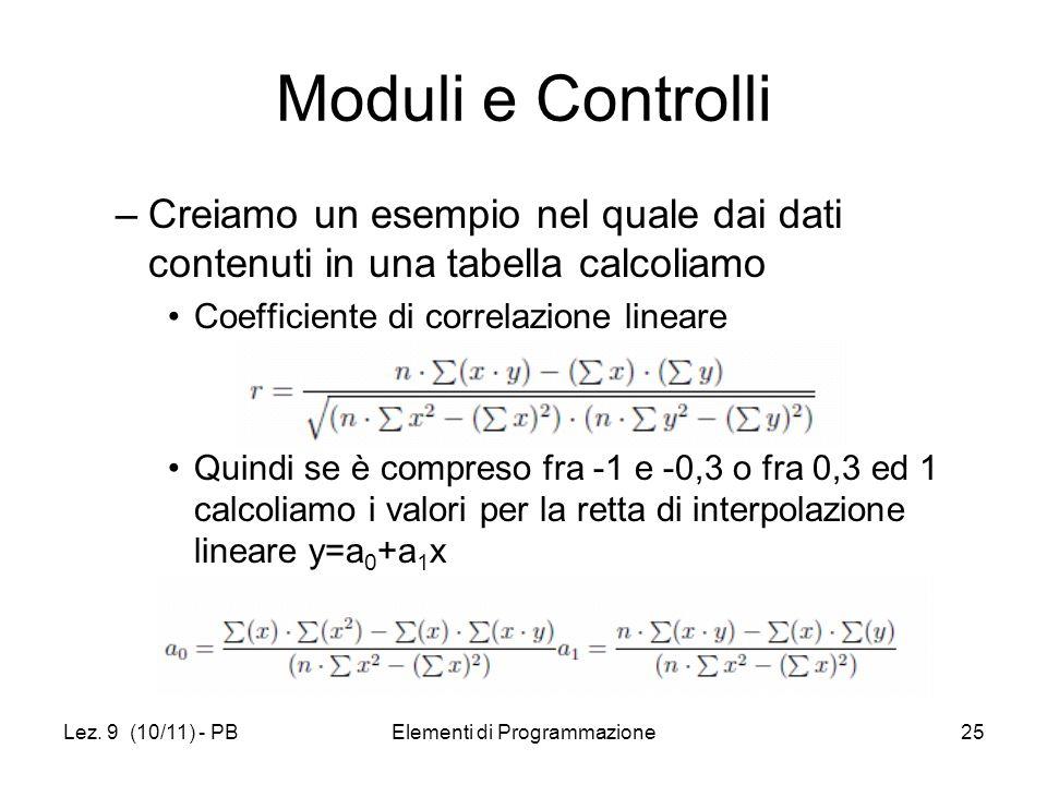 Lez. 9 (10/11) - PBElementi di Programmazione25 Moduli e Controlli –Creiamo un esempio nel quale dai dati contenuti in una tabella calcoliamo Coeffici