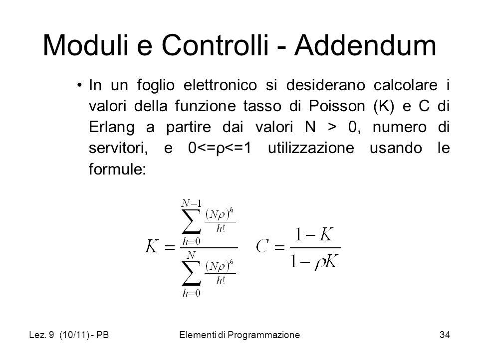Lez. 9 (10/11) - PBElementi di Programmazione34 Moduli e Controlli - Addendum In un foglio elettronico si desiderano calcolare i valori della funzione