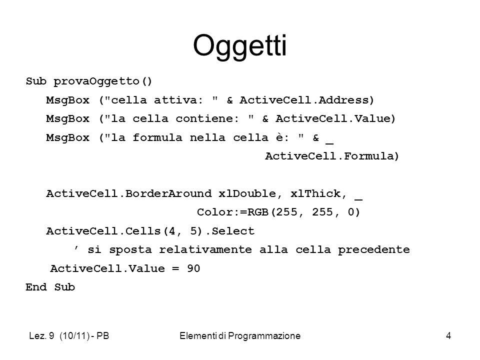 Lez. 9 (10/11) - PBElementi di Programmazione4 Oggetti Sub provaOggetto() MsgBox (