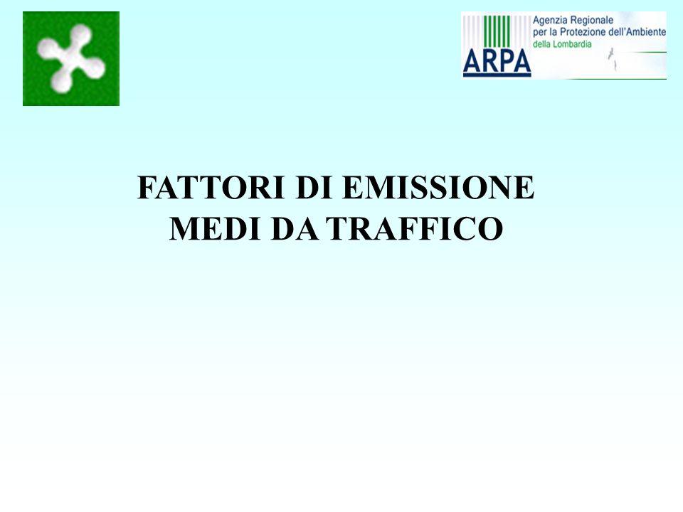 I fattori di emissione medi possono derivare - da stime dei FE basate sulle curva copert e su velocità medie (è arbitraria la scelta di velocità medie; a volte si usano una velocità media per ciclo di guida urbano, extraurbano e autostradale) - da stime basate dal rapporto fra le emissioni e le percorrenze (possibile facilmente in Inemar) I fattori di emissione medi possono essere espressi - Per settore (auto, moto, leggeri, pesanti, ecc) - Per settore e carburante - Per settore e tipo legislativo (euro 0, I, ecc.) - Per settore e tipo legislativo e cilindrata (tipo copert) Attenzione alle emissioni da usura ed evaporative
