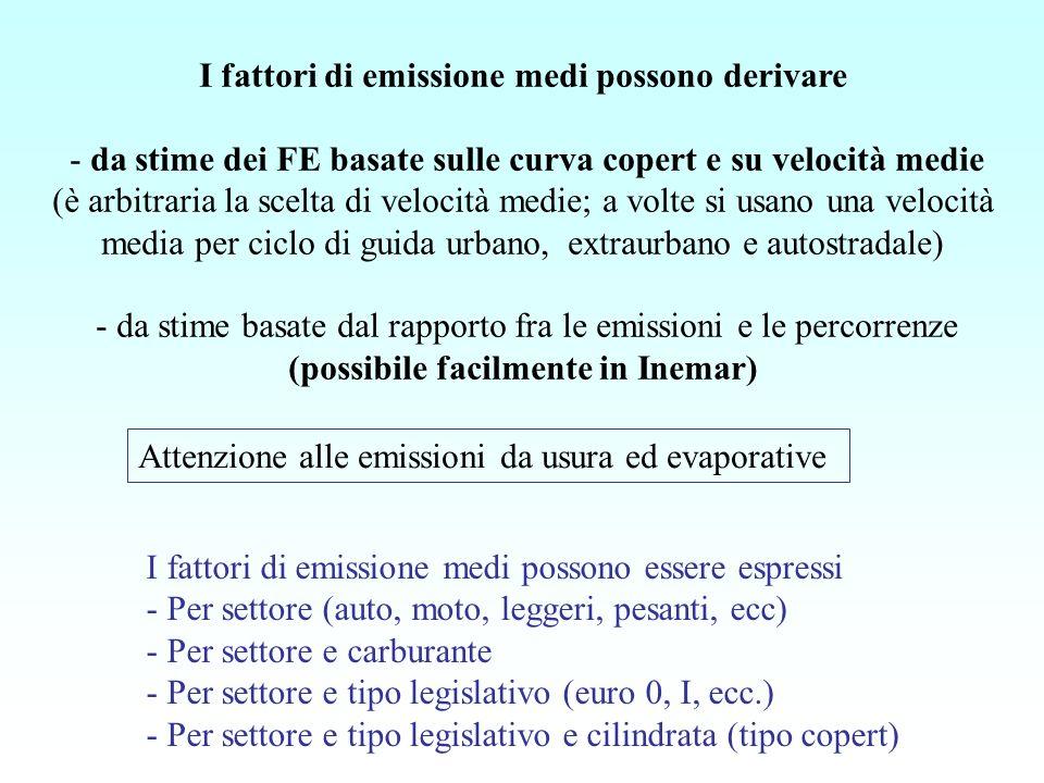I fattori di emissione medi possono derivare - da stime dei FE basate sulle curva copert e su velocità medie (è arbitraria la scelta di velocità medie