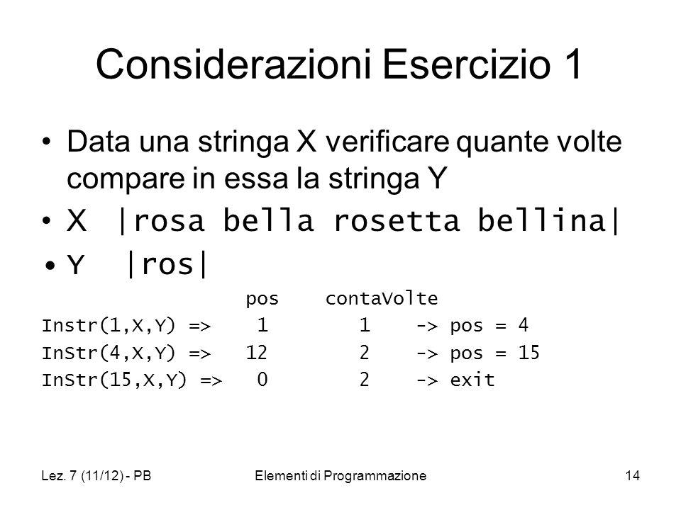 Lez. 7 (11/12) - PBElementi di Programmazione14 Considerazioni Esercizio 1 Data una stringa X verificare quante volte compare in essa la stringa Y X |