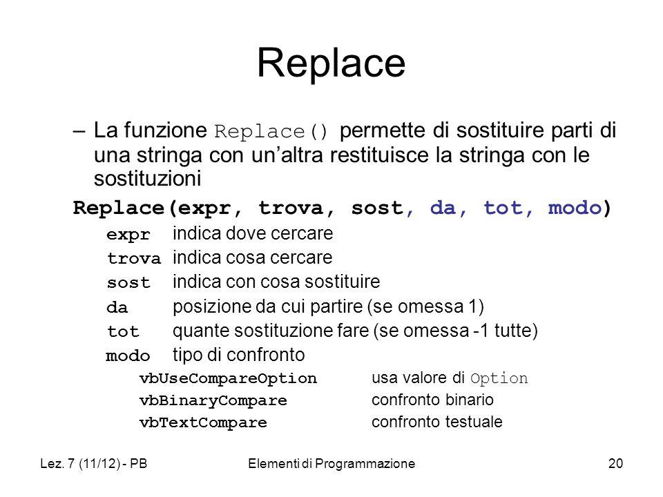 Lez. 7 (11/12) - PBElementi di Programmazione20 Replace –La funzione Replace() permette di sostituire parti di una stringa con unaltra restituisce la