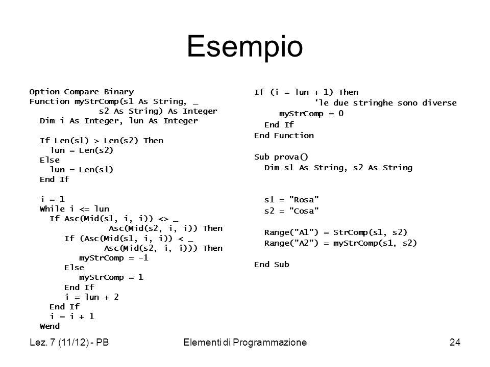 Lez. 7 (11/12) - PBElementi di Programmazione24 Esempio Option Compare Binary Function myStrComp(s1 As String, _ s2 As String) As Integer Dim i As Int