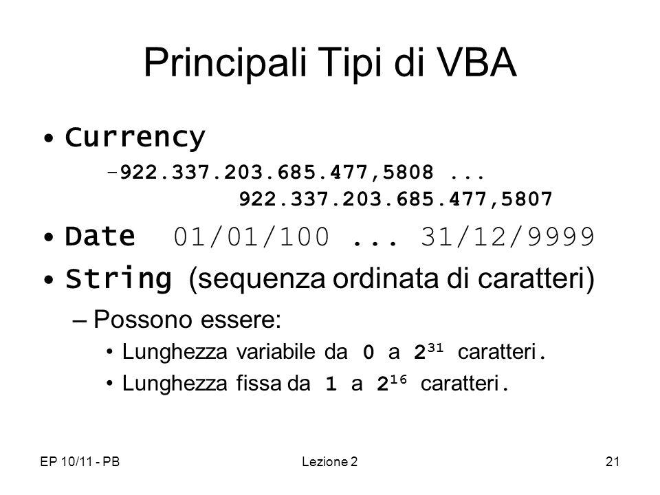 EP 10/11 - PBLezione 221 Principali Tipi di VBA Currency -922.337.203.685.477,5808... 922.337.203.685.477,5807 Date 01/01/100... 31/12/9999 String (se