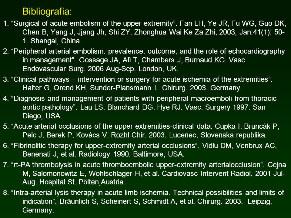 Bibliografia: 1. Surgical of acute embolism of the upper extremity. Fan LH, Ye JR, Fu WG, Guo DK, Chen B, Yang J, Jjang Jh, Shi ZY. Zhonghua Wai Ke Za
