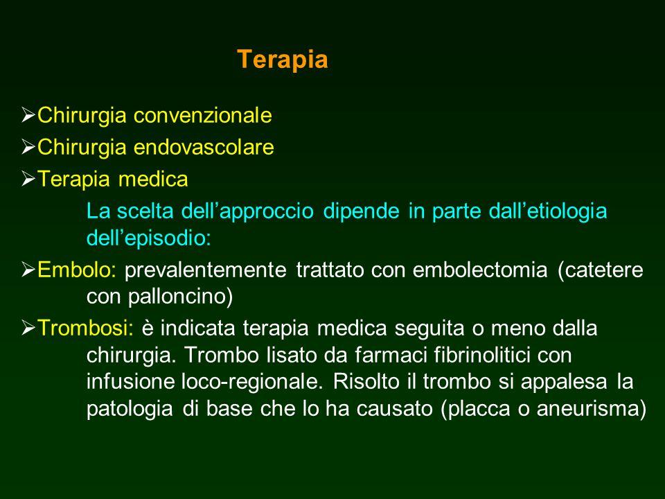 Terapia Chirurgia convenzionale Chirurgia endovascolare Terapia medica La scelta dellapproccio dipende in parte dalletiologia dellepisodio: Embolo: pr