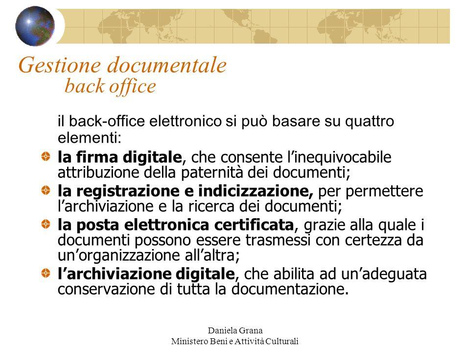 Daniela Grana Ministero Beni e Attività Culturali Gestione documentale back office il back-office elettronico si può basare su quattro elementi: la fi