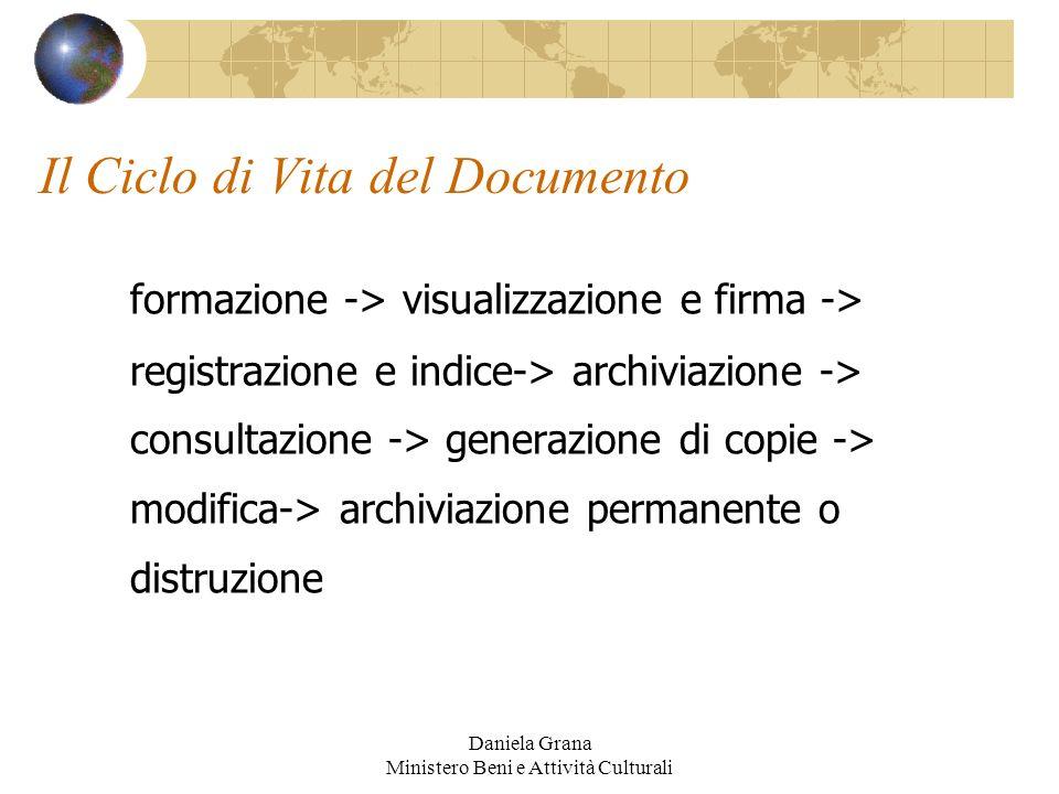 Daniela Grana Ministero Beni e Attività Culturali Il Ciclo di Vita del Documento formazione -> visualizzazione e firma -> registrazione e indice-> arc