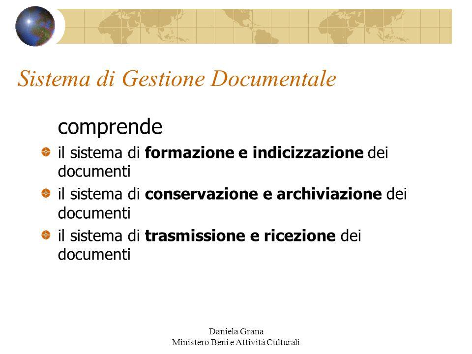 Daniela Grana Ministero Beni e Attività Culturali Sistema di Gestione Documentale comprende il sistema di formazione e indicizzazione dei documenti il